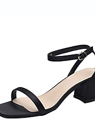 cheap -Women's Sandals Chunky Heel Square Toe Satin Summer Black / Red / Pink