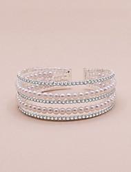 cheap -Women's Cuff Bracelet Wrap Bracelet Retro Precious Sweet Fashion Rhinestone Bracelet Jewelry White For Wedding Party