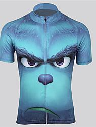 cheap -Men's Daily Spring & Summer Regular Jacket, Geometric Stand Short Sleeve Polyester Blue
