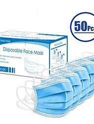 cheap -50 pcs Face Mask Protection In Stock Medical Mask Surgical Masks Nonwoven ISO Certification Waterproof Carrying High Quality Blue+Free Shipping for 4 boxes (50 pieces per box)