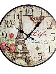 cheap -European / Fashion Wooden / Bamboo Round Garden Theme Indoor Battery Decoration Wall Clock Digital Wood No