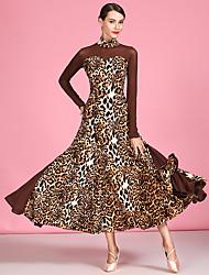 cheap -Ballroom Dance Dress Pattern / Print Split Joint Women's Performance Long Sleeve High Tulle Ice Silk
