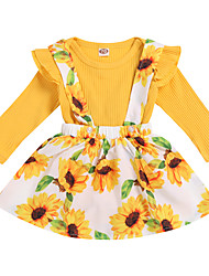cheap -Baby Girls' Active Boho Easter Daisy Print Ruffle Print Long Sleeve Regular Clothing Set Yellow / Toddler