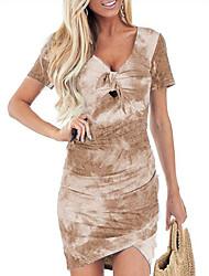 cheap -Women's Sheath Dress - Print Wine Purple Blue S M L XL