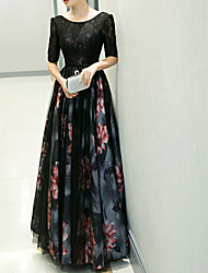 cheap -A-Line Floral Black Wedding Guest Formal Evening Dress Jewel Neck Half Sleeve Floor Length Polyester with Pattern / Print 2020