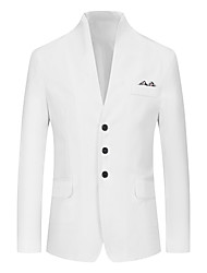 cheap -Men's Blazer, Solid Colored Stand Polyester Black / White / Blushing Pink