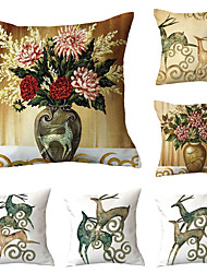 cheap -Set of 6 Polyester Pillow Cover, Retro Floral Print Simple Vintage Square Traditional Classic Throw Pillow