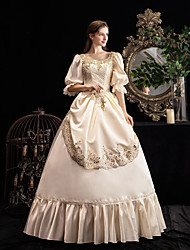 cheap -Maria Antonietta Vintage Rococo Medieval Winter Dress Party Costume Masquerade Women's Sequins Sequin Costume Champagne Vintage Cosplay Party Masquerade 3/4-Length Sleeve Floor Length Ball Gown
