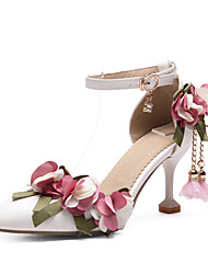 cheap -Women's Heels Kitten Heel Pointed Toe Sparkling Glitter / Buckle PU Sweet / British Spring & Summer White / Pink / Wedding / Party & Evening