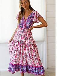 cheap -Women's A Line Dress - Print Maxi Blushing Pink S M L XL