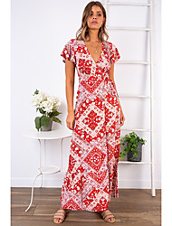 cheap -Women's Maxi Red Dress A Line Print Deep V S M