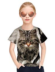 cheap -Kids Girls' Active Punk & Gothic 3D Plaid Animal Short Sleeve Tee Gray