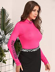 Недорогие -женская мода сплошной цвет письма половина высокий воротник рубашка дна slim fit и универсальный футболка с длинным рукавом