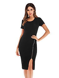 cheap -Women's Daily Going out Sheath Dress - Solid Color Black Wine Blue M L XL