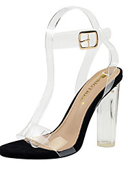 cheap -Women's Sandals Transparent Shoes Chunky Heel Open Toe Faux Leather Casual / Minimalism Spring / Summer Khaki / Black