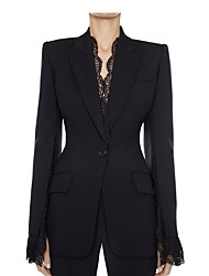 cheap -Women's Blazer, Solid Colored Notch Lapel Polyester Black / White