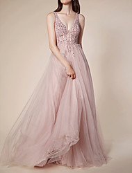 cheap -A-Line Elegant Pink Engagement Prom Dress V Neck Sleeveless Sweep / Brush Train Tulle with Pleats Beading 2020