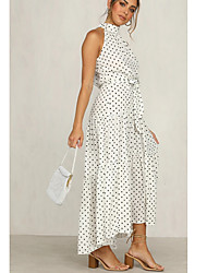 cheap -Women's A Line Dress - Polka Maxi Dot Black White Red S M L XL
