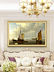 cheap -Framed Art Print Elegant Design Antique Golden Wood Framed Canvas Sailboat Seascape PS Oil Painting Wall Art