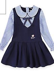 cheap -Kids Girls' Striped Dress Navy Blue