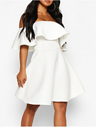 cheap -A-Line Hot White Holiday Cocktail Party Dress Off Shoulder Short Sleeve Short / Mini Polyester with Ruffles 2020