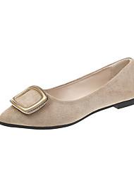 cheap -Women's Flats Flat Heel Round Toe Suede Casual Walking Shoes Spring & Summer Black / Light Yellow / Beige