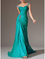 cheap -Mermaid / Trumpet Scoop Neck Court Train Polyester Elegant / Turquoise / Teal Engagement / Formal Evening Dress with Crystals / Draping 2020