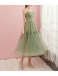 cheap -A-Line Green Spring Cocktail Party Prom Dress Spaghetti Strap Sleeveless Tea Length Satin Tulle with Pleats Ruched 2020