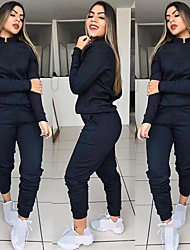cheap -Women's 2-Piece Full Zip Tracksuit Sweatsuit Jogging Suit Street Athleisure Long Sleeve Winter Elastane Breathable Soft Fitness Running Jogging Sportswear Solid Colored Outfit Set Clothing Suit Jacket