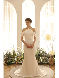cheap -Mermaid / Trumpet Halter Neck Sweep / Brush Train Spandex Sleeveless Sexy Made-To-Measure Wedding Dresses with Pearls 2020