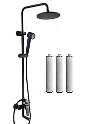 cheap -Filter Shower System Set 9 inches Matt Black Square Water Softener Delay Skin Aging Emollient Rainfall Pressurized Remove Residual Chlorine Carbon Fiber Filter Shower Head with three Replacements