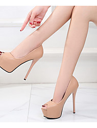 cheap -Women's Heels Stiletto Heel Peep Toe PU Spring & Summer Black / Pink / Beige