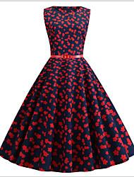 cheap -Women's Purple Dress Sheath Print S M