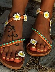 cheap -Women's Sandals Boho / Beach Flat Sandals Spring & Summer Flat Heel Peep Toe Casual Daily Imitation Pearl Floral PU Light Brown