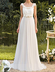 cheap -A-Line Jewel Neck Floor Length Chiffon Bridesmaid Dress with Pleats
