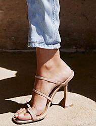cheap -Women's Sandals Stiletto Heel Square Toe PU Summer Almond / Black