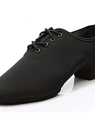 cheap -Women's Modern Shoes Denim Oxford Thick Heel Dance Shoes Black