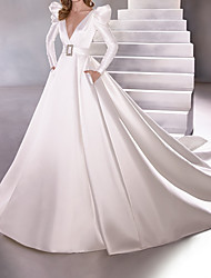 cheap -A-Line Wedding Dresses Plunging Neck Court Train Satin Long Sleeve Vintage Plus Size with Sashes / Ribbons 2020
