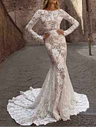cheap -Mermaid / Trumpet Jewel Neck Sweep / Brush Train Polyester Long Sleeve Country See-Through / Plus Size / Illusion Sleeve Wedding Dresses with Draping / Appliques 2020