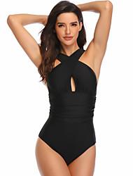 cheap -Women's Beach Girl Vintage 1980s Bikini Peplum Swimsuit Monokini Spandex Tactel Solid Color Black Purple Leotard / Onesie