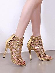 Недорогие -Жен. Обувь на каблуках На шпильке Круглый носок Полиуретан Весна лето Золотой