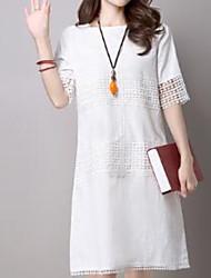 cheap -Women's White Black Dress Shift Solid Color S M