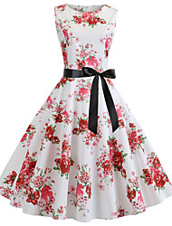cheap -Women's White Dress Cute Street chic Party Daily Swing Floral Print Patchwork Print S M / Cotton