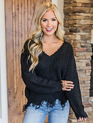 cheap -Women's Solid Colored Long Sleeve Pullover Sweater Jumper, V Neck Black / Wine / White S / M / L