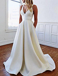 cheap -A-Line Plunging Neck Sweep / Brush Train Stretch Satin Sleeveless Sexy Plus Size Wedding Dresses with Bow(s) / Draping 2020