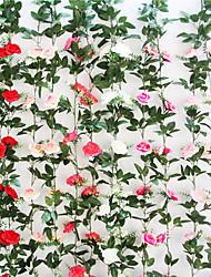 cheap -Artificial Flower Rose Vine Artificial Flower Rattan Vine Green Leaf Wall Hanging Decoration 1 Pack
