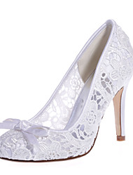 cheap -Women's Wedding Shoes Mesh Stiletto Heel Round Toe Bowknot Lace Sweet Spring & Summer Pink / White / Ivory / Party & Evening