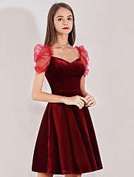 cheap -A-Line Vintage Red Party Wear Cocktail Party Dress V Neck Short Sleeve Short / Mini Velvet with Pleats 2020