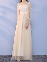 cheap -A-Line Jewel Neck Ankle Length Chiffon Bridesmaid Dress with Tier