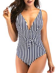 cheap -Women's Beach Girl Vintage 1980s Bikini Peplum Swimsuit Monokini Spandex Tactel Striped Black White Leotard / Onesie